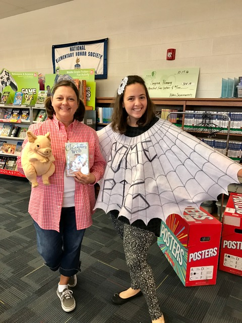 Mrs. Hale and Mrs. Hudson dressed up for Book Character Dress Up Day